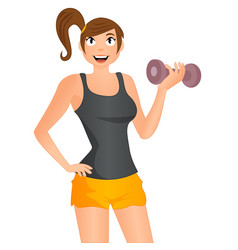cute cartoon girl exercising with dumbbells vector image vector image