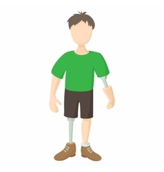 Disabled person with prosthetic icon vector