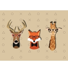 Hipster style animals image vector