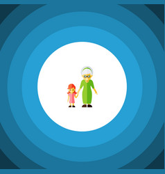 Isolated grandma flat icon grandchild vector