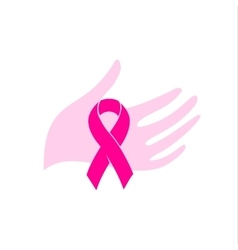 Isolated pink color ribbon in a human hand on the vector image vector image