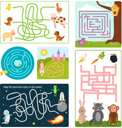 labyrinth maze conundrum shape rebus logic game vector image