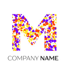 Letter m logo with purple yellow red particles vector