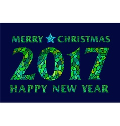 Magic mosaic green inscription 2017 on dark field vector image vector image