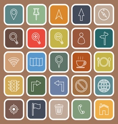 Map line flat icons on brown background vector image vector image