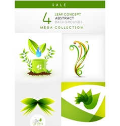Mega collection of leaf abstract backgrounds vector image vector image