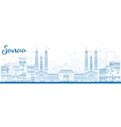 Outline sanaa yemen skyline with blue buildings vector