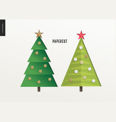 papercut - christmas trees set vector image
