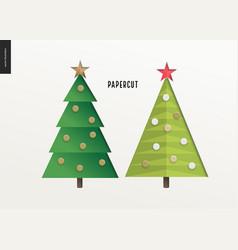 Papercut - christmas trees set vector