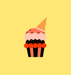Party cupcake dessert vector
