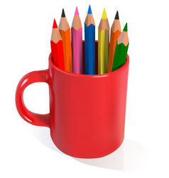 Red mug filled with coloured pencils vector
