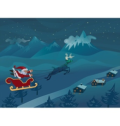 Santa with sleigh flying with deer in the winter vector image vector image