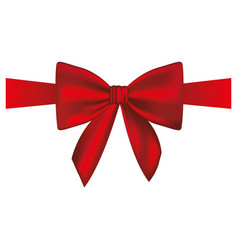 Satin red ribbon and bow wrapping vector