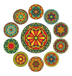 Set of round ethnic patterns vector