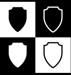 Shield sign black and white vector
