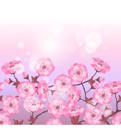 Spring sakura flowers seamless pattern horizontal vector image vector image