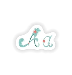 Stiker abstract letter a logo icon in blue vector