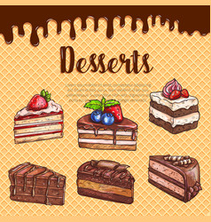 Waffle poster with dessert cakes and pies vector