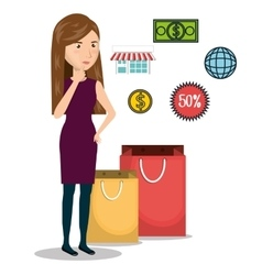 cartoon woman e-commerce isolated design vector image