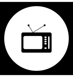 black isolated old retro television symbol simple vector image