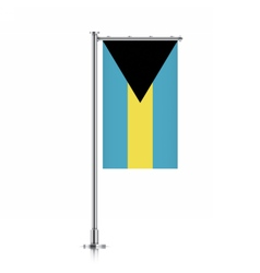 Flag of bahamas hanging on a pole vector