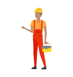 Builder in helmet and uniform bucket of cement vector