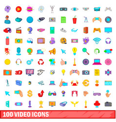100 video icons set cartoon style vector image