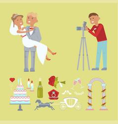 Wedding couple and photographer vector