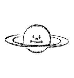 Cartoon planet saturn galaxy icon vector