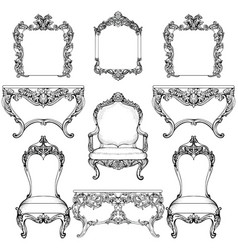Rich baroque rococo furniture and frames set vector