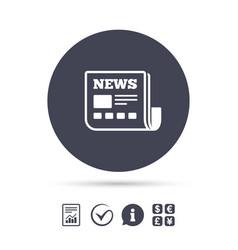 News icon newspaper sign mass media symbol vector