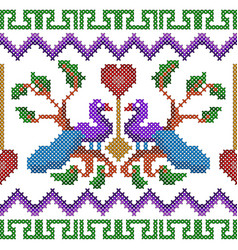 cross stitch embroidery peacock design for vector image