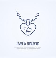 Pendant on chain jewelry flat line vector
