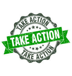 Take action stamp sign seal vector