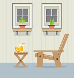 Closed windows with wooden chair and a glass of vector
