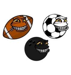 Grinning cartoon soccer football and bowling ball vector
