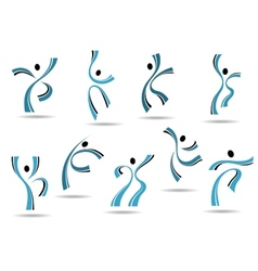Set of stylized blue icons of dancing people vector