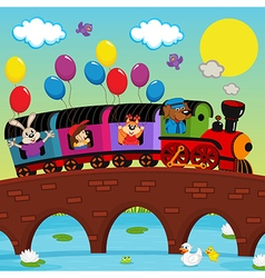 Train on bridge with animals vector