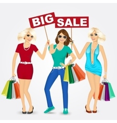 Group of women with shopping bags vector