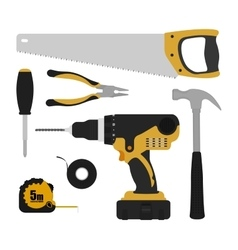 Construction tools instruments set vector