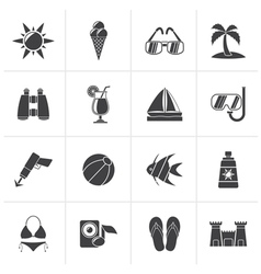 Black tropic beaches and summer icons vector