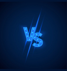 Blue neon versus logo vs letters for sports and vector