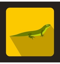 Little lizard icon flat style vector