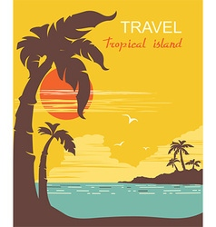 Tropical paradise palms island poster vector