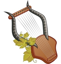 Ancient cittern with vine vector image vector image