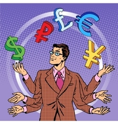 Businessman juggling money business concept vector