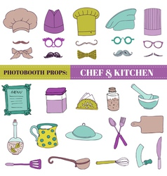 Chef and Kitchen - Photobooth Set vector image vector image