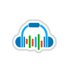 Color label design collection of music headphones vector
