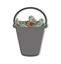 Fishes in bucket vector
