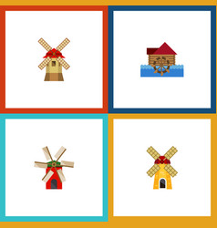 Flat icon alternative set of watermill ecology vector